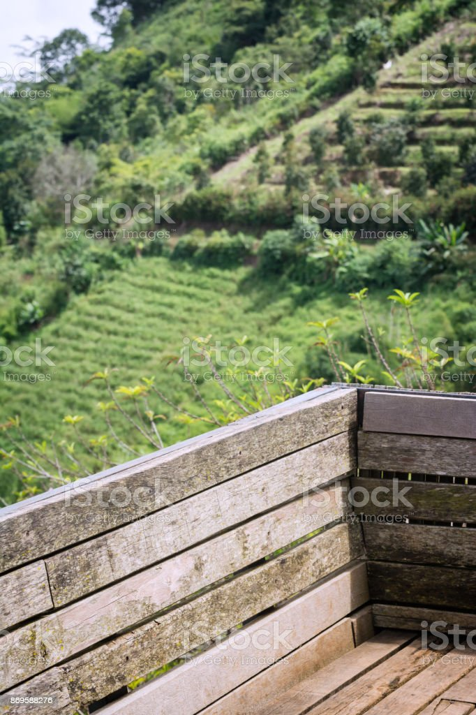 Backrest in the Mountain View in Thailand. Popular holiday destinations in the winter. stock photo