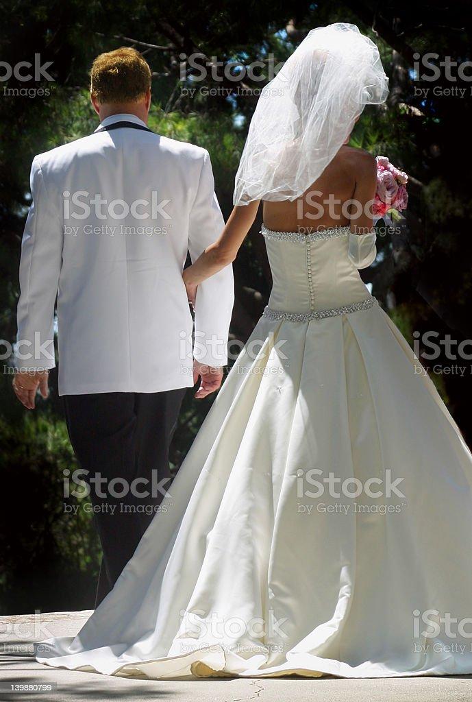 Backs of Bride & Groom royalty-free stock photo