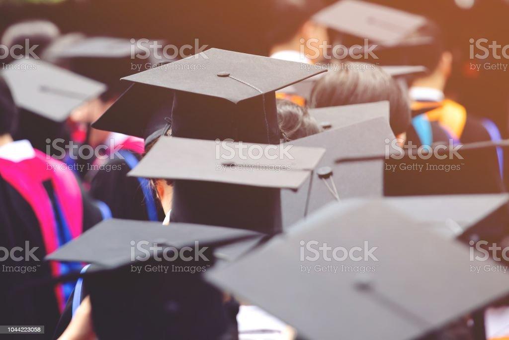 backside graduation hats during commencement success graduates of the...