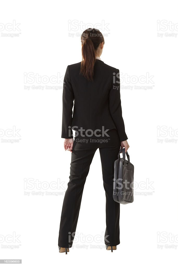 Backside of a businesswoman on white background royalty-free stock photo