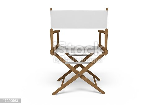 Backside of a wooden / white director's chair isolated on white.
