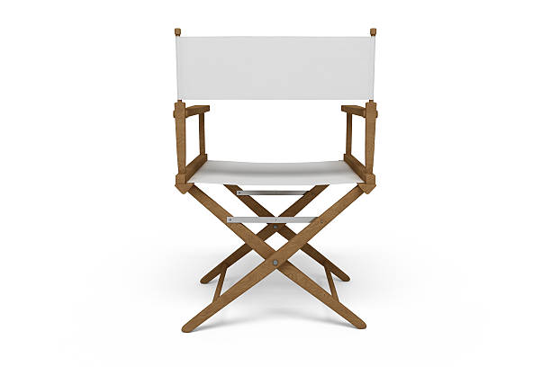 backside of a director's chair - wooden / white (isolated) - director stock photos and pictures