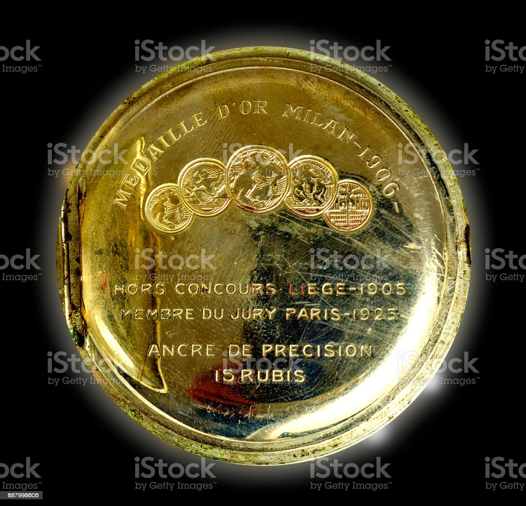 Backside of a pocket watch stock photo