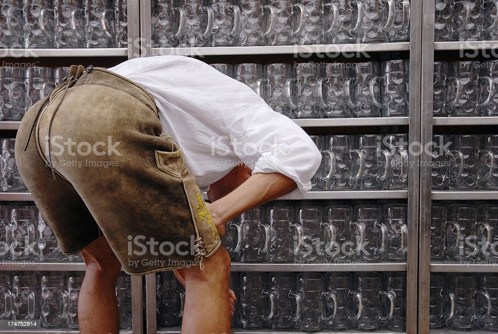 Backside of Bavarian Guy royalty-free stock photo