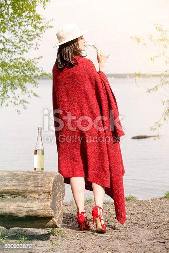 873264516istockphoto backside of woman by the water with champagne 530933872