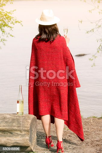 873264516istockphoto backside of woman by the water with champagne 530946696