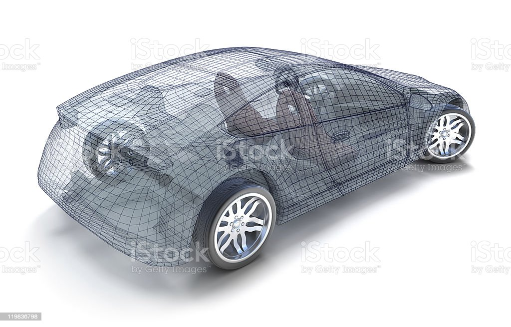 Backside view of sports car wireframe royalty-free stock photo
