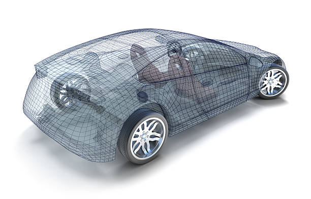 Backside view of sports car wireframe stock photo