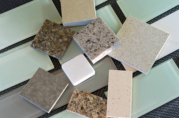 Backsplash tiles and quartz countertop samples stock photo