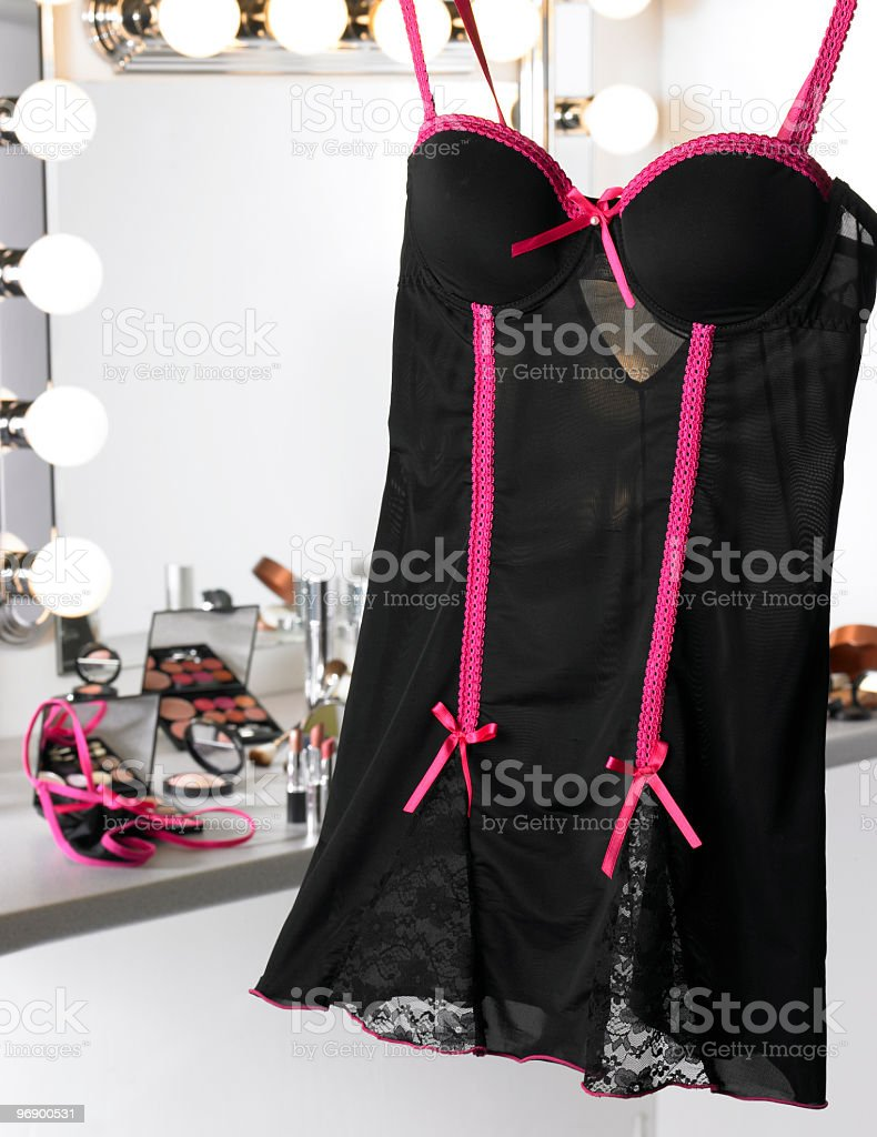 Backstage Makeup Lingerie 2 royalty-free stock photo