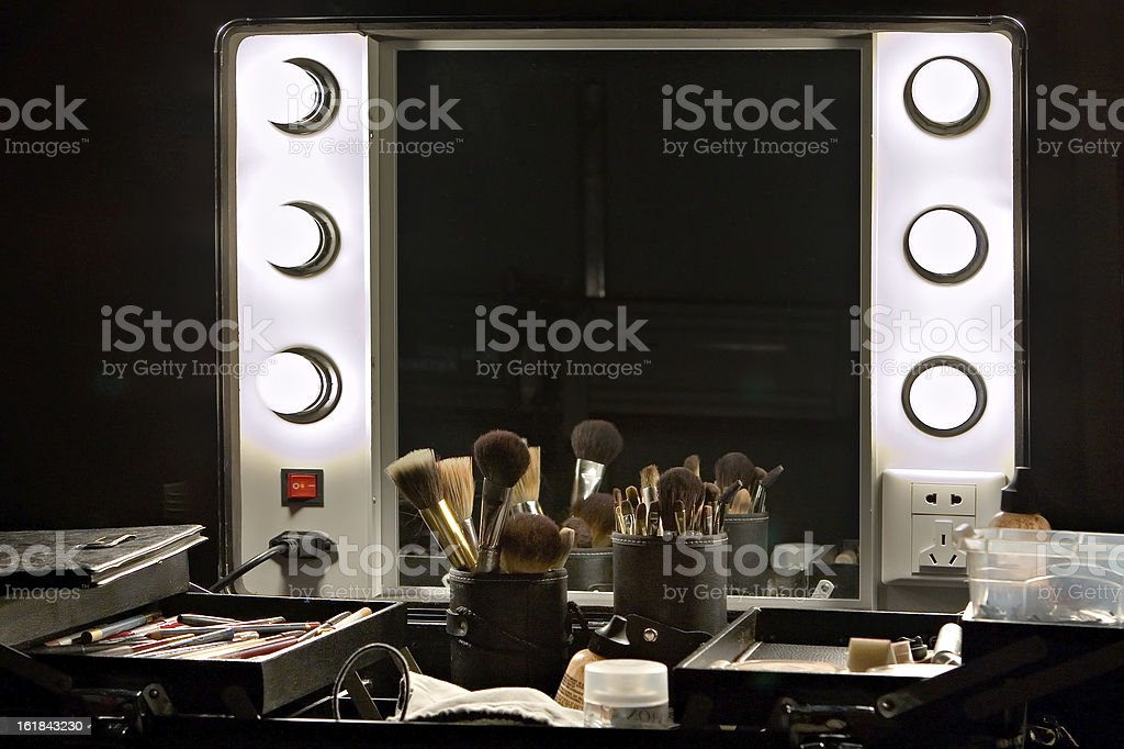 Backstage mirror and make up set stock photo
