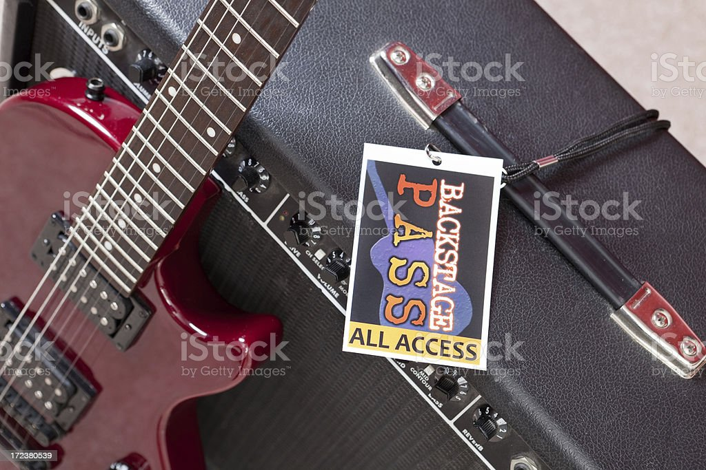 Backstage Pass On Amplifier With Guitar stock photo