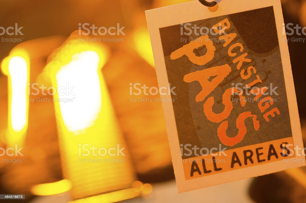 Backstage Pass with guitar stock photo