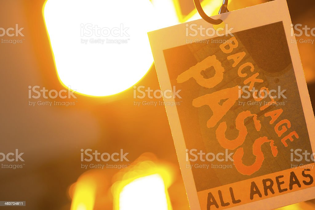 Backstage Pass with stage light stock photo