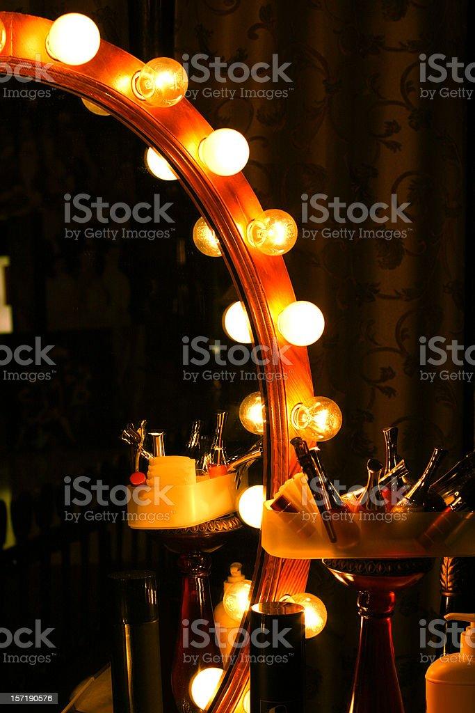 Backstage Retro Light Bulb Mirror stock photo