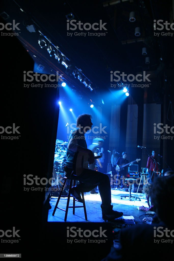 Backstage shot of a rock concert stock photo