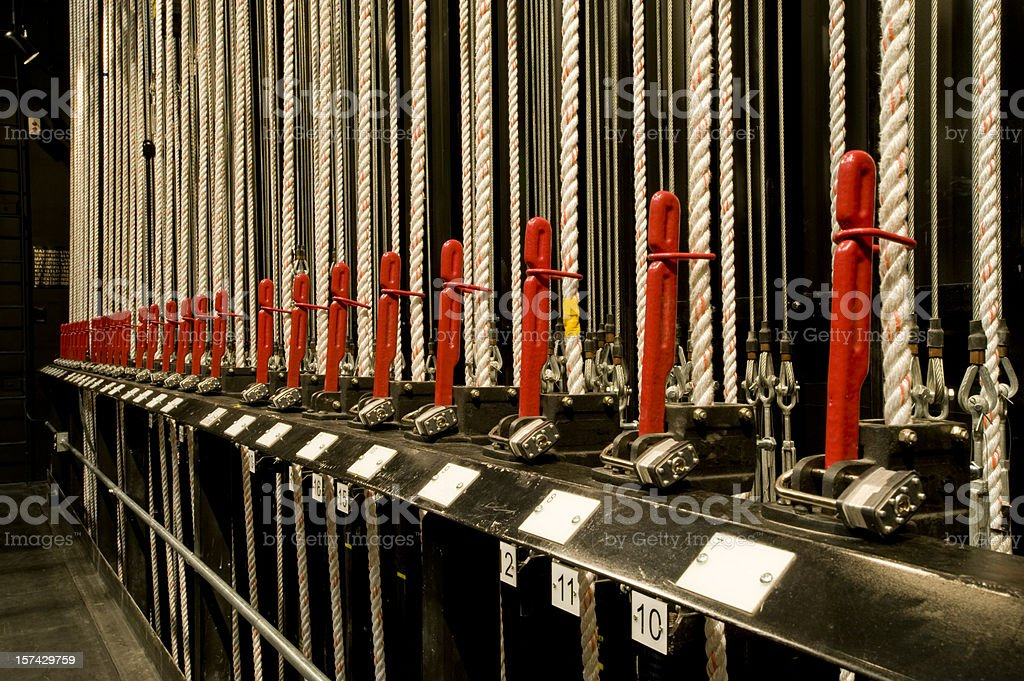 Backstage theater rigging stock photo