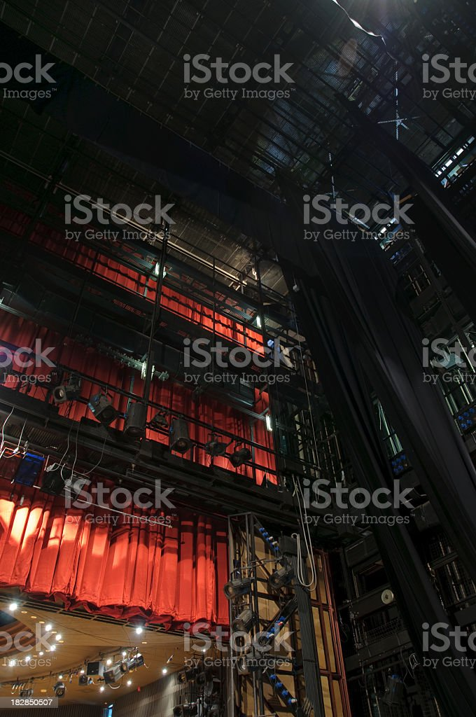 Backstage view of theater lights and red curtains stok fotoğrafı