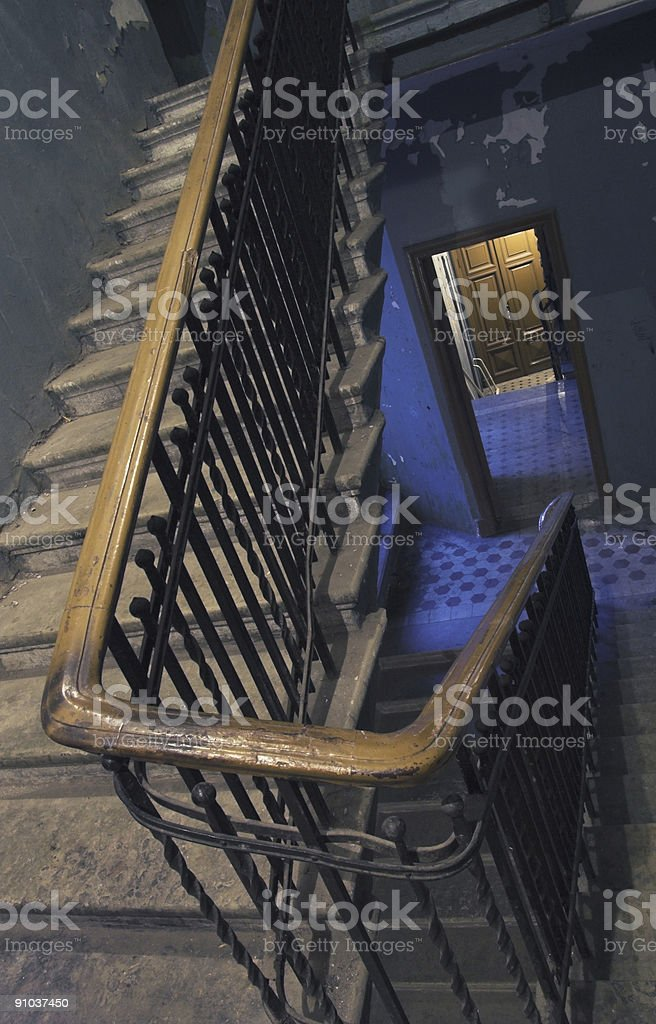 Backstairs in old apartment building royalty-free stock photo