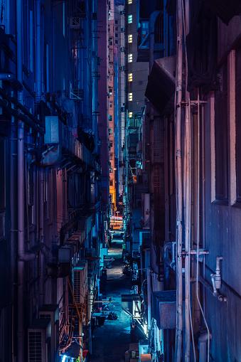 Backstreet in wanchai, Hong Kong at night