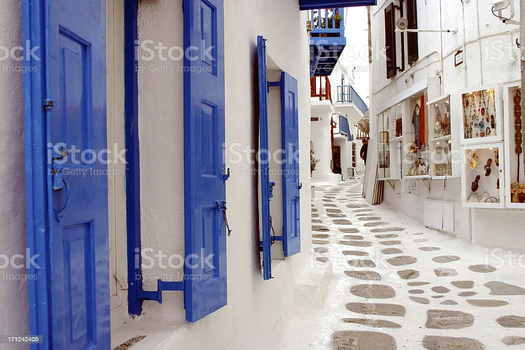 Backstreets of Mykonos royalty-free stock photo