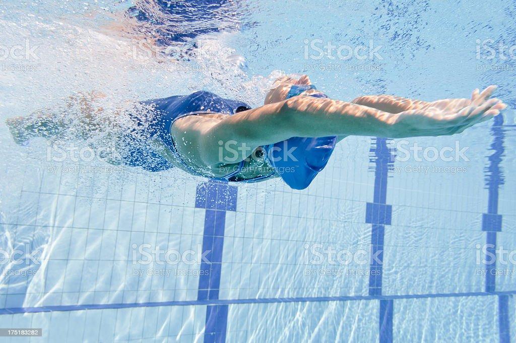 Backstroke swimmer stock photo