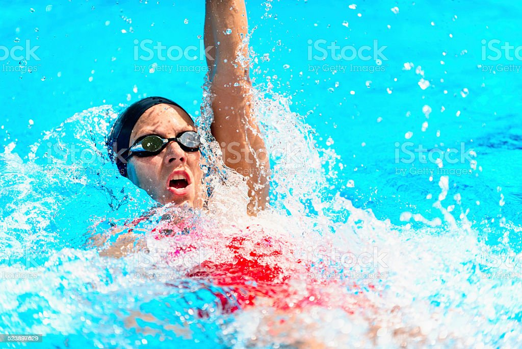 Backstroke Swimming stock photo