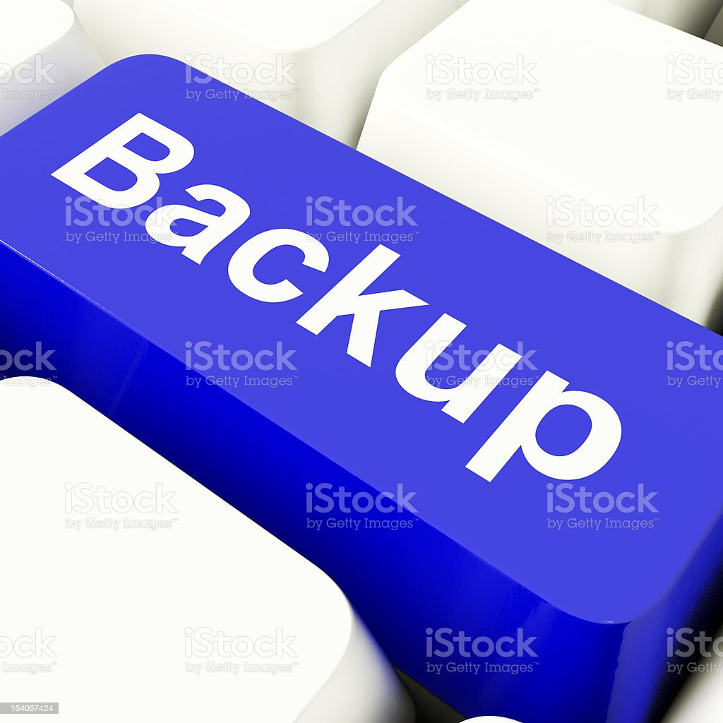 Backup Computer Key In Blue For Archiving And Storage royalty-free stock photo