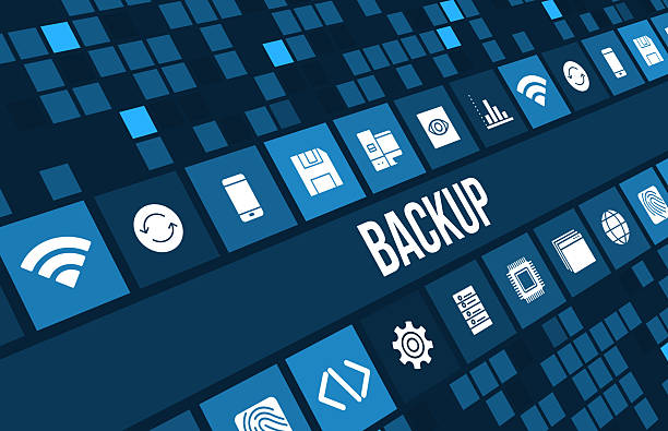 Backup concept image with technology icons and copyspace stock photo