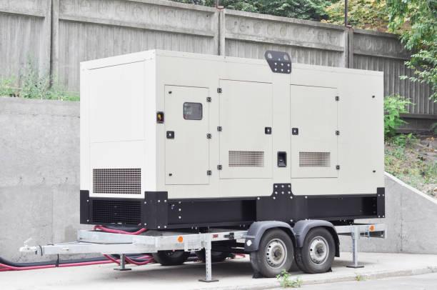 Back-up generator op de trailer. Mobiele back-up generator. Stand-by generator - Buiten power equipment foto