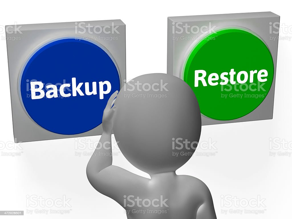 Backup Restore Buttons Show Data Archive Or Recovery stock photo