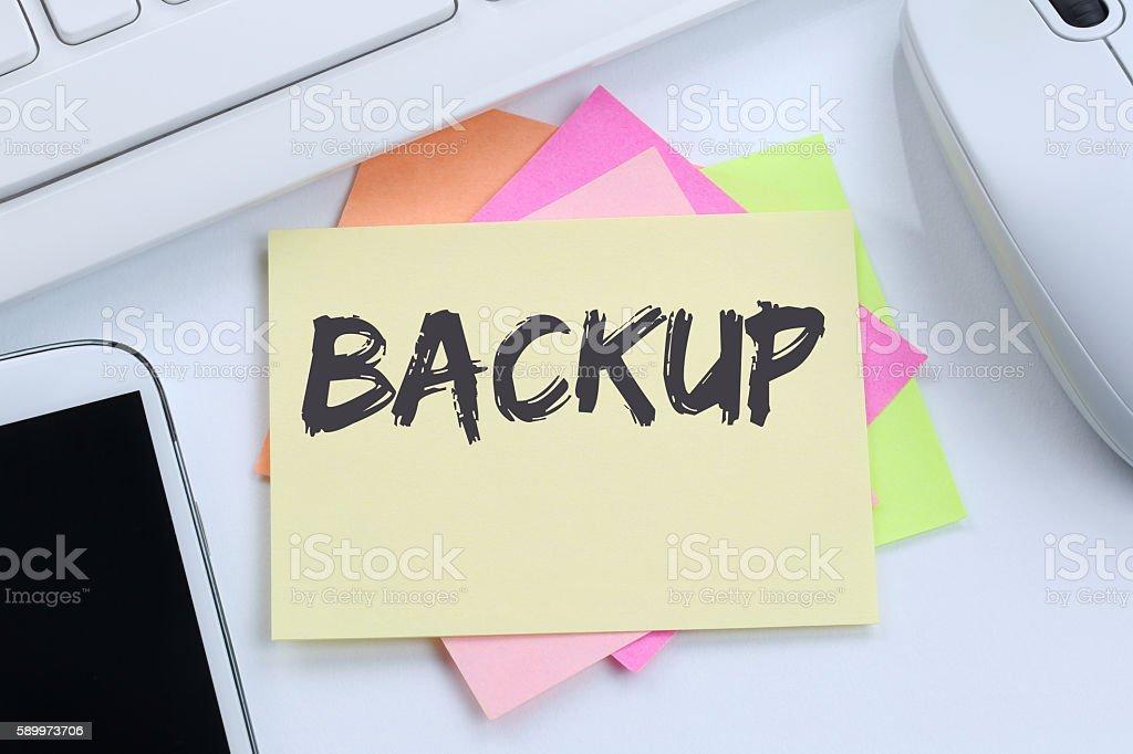 Backup save data on computer technology desk stock photo