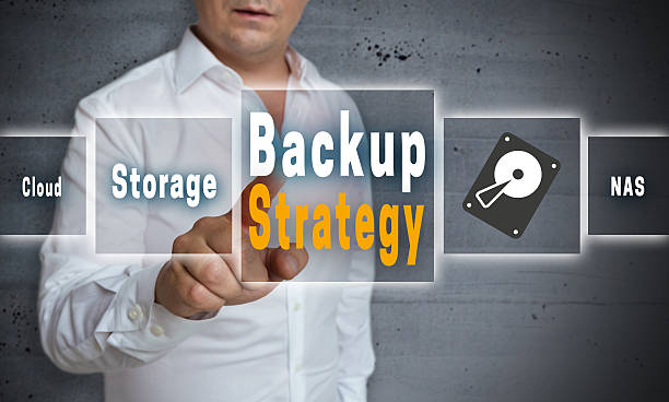 Backup Strategy touchscreen concept background stock photo
