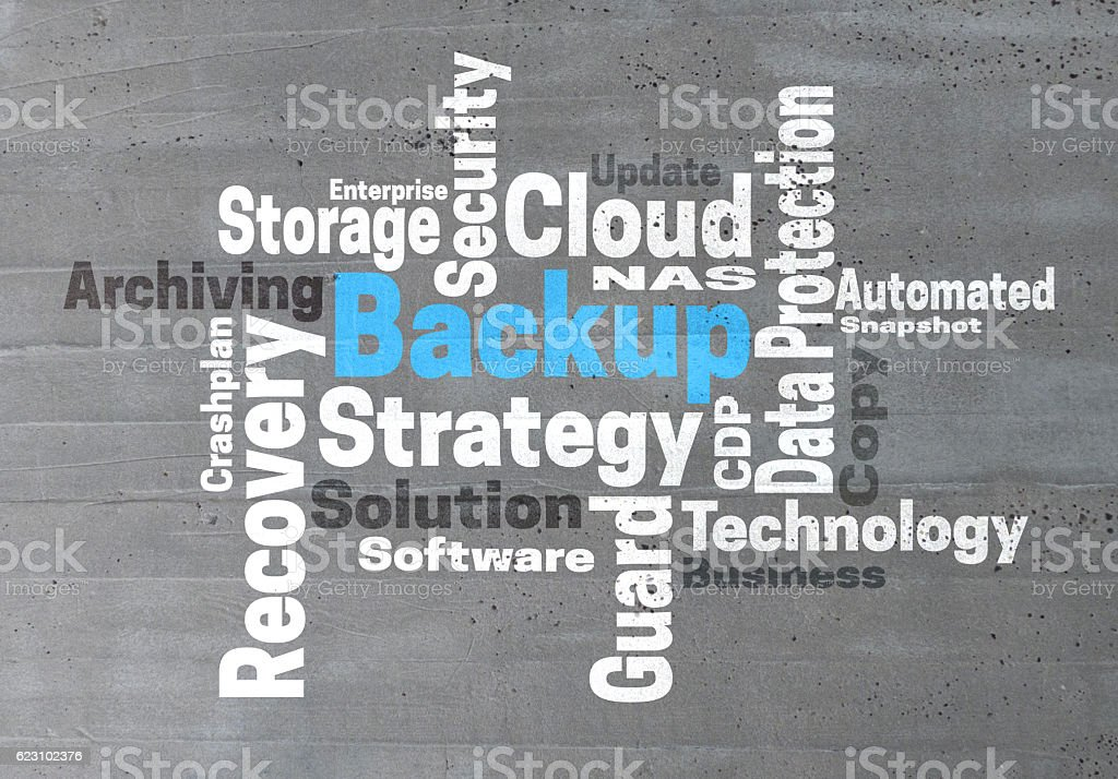 Backup Strategy wordcloud concept stock photo