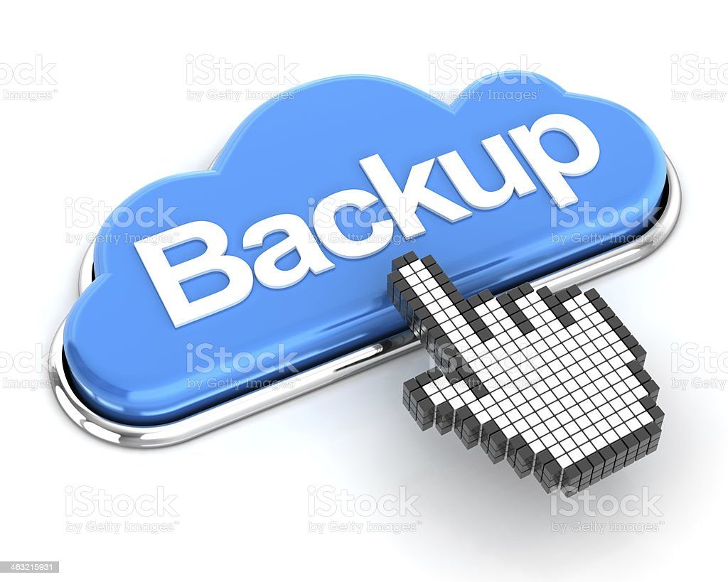Backup to cloud button stock photo