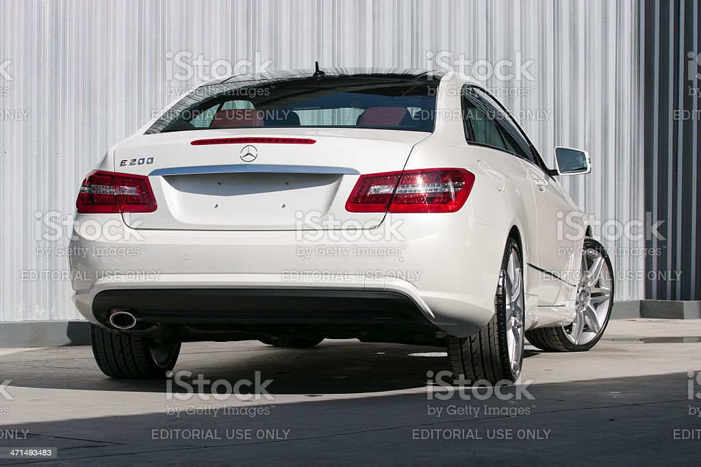 Backview of a Mercedes-Benz E 200 coupe royalty-free stock photo
