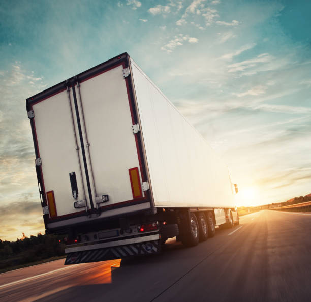 Backview of european truck vehicle on motorway stock photo