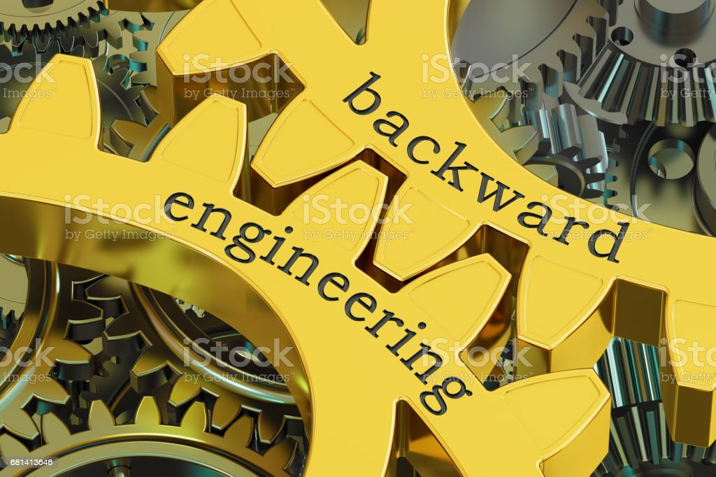 backward engineering concept on the gears, 3D rendering royalty-free stock photo