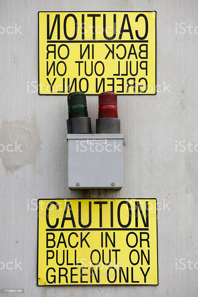 Backwards and forwards; sign for truck drivers royalty-free stock photo