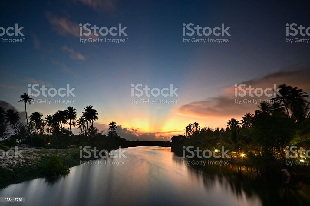 Backwaters red sunset royalty-free stock photo
