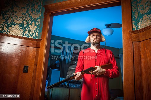 Backwoods Man in Doorway with Shotgun Wearing Long Underwear 2