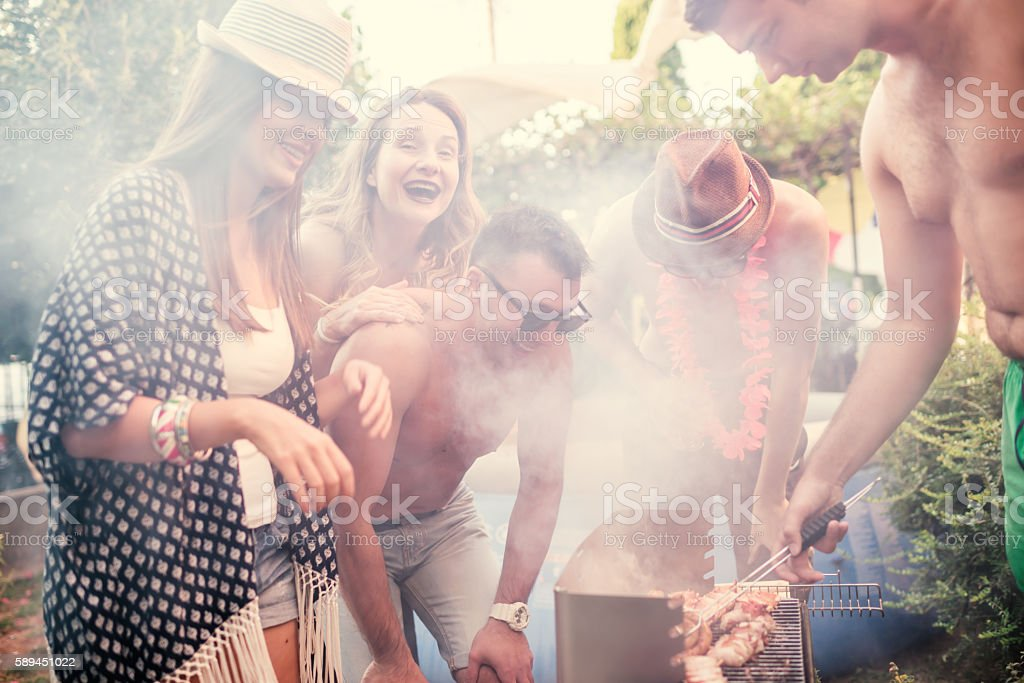 Backyard barbecue party stock photo