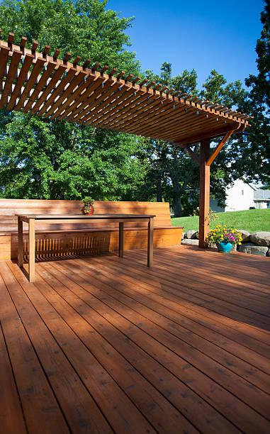 Backyard Deck View stock photo