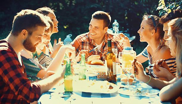 Backyard dinner party. stock photo
