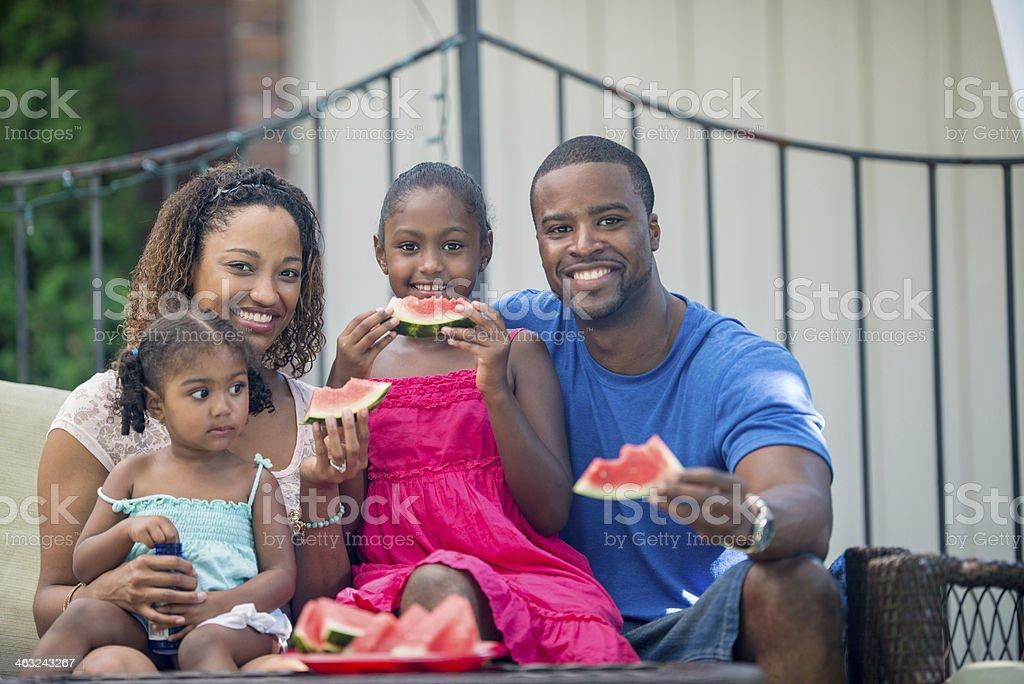 Backyard family stock photo