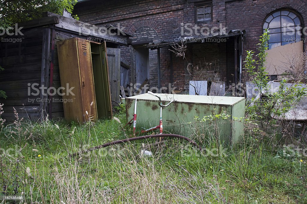 backyard filled with junk royalty-free stock photo