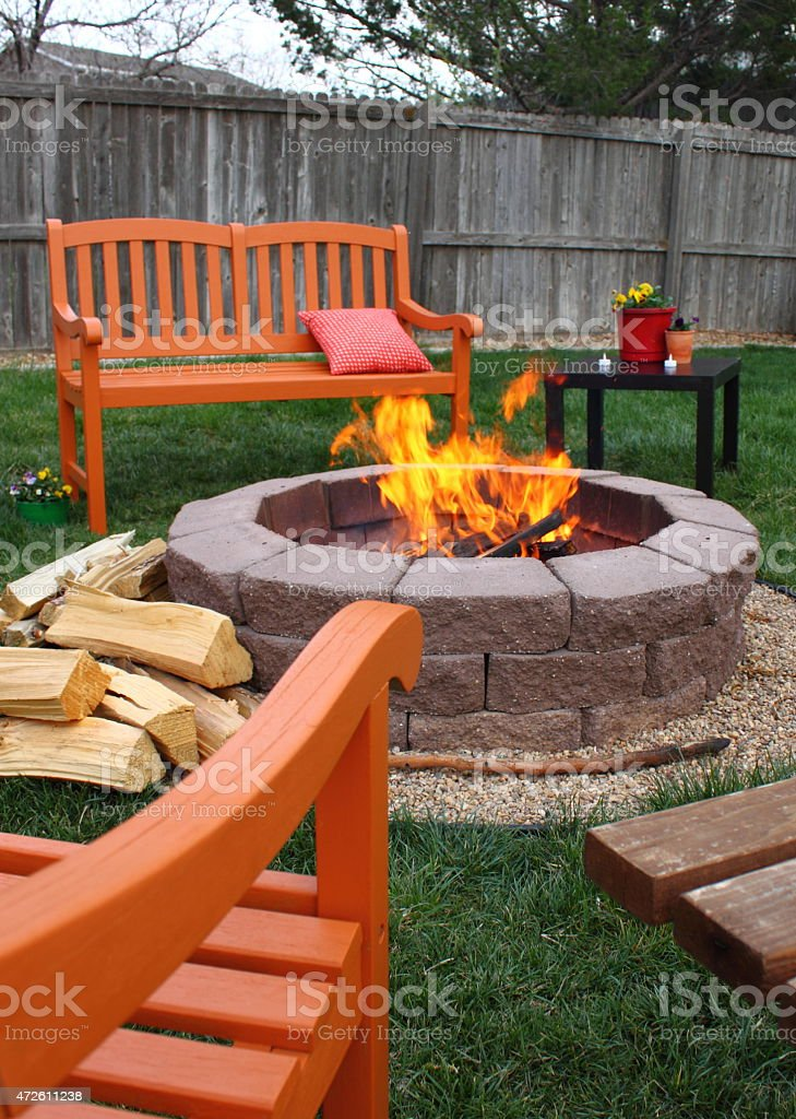 Backyard fire pit stock photo