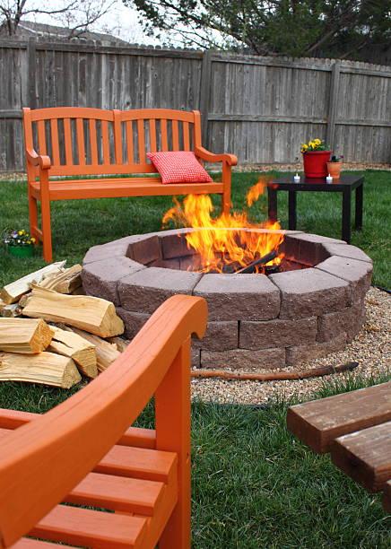 Backyard fire pit stock photo