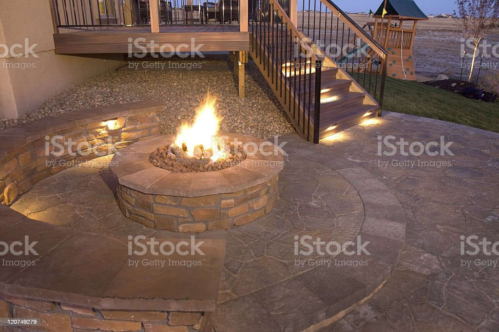 backyard firepit stock photo