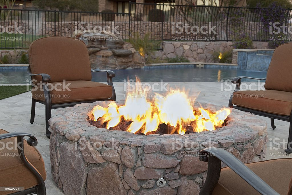 Backyard Fireplace stock photo